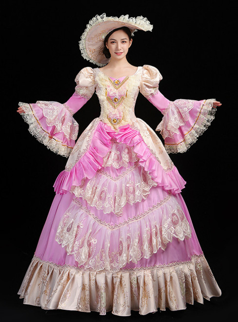 Pink Ball Gown Satin Print Drama Show Vintage Gown Dress