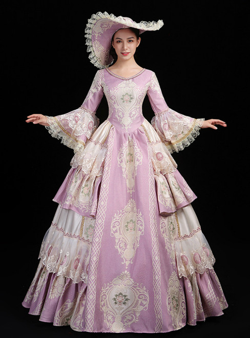 Pink Ball Gown Embroidery Long Sleeve Drama Show Vintage Gown Dress
