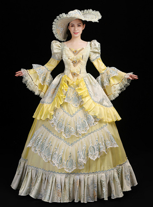Yellow Ball Gown Satin Print Drama Show Vintage Gown Dress