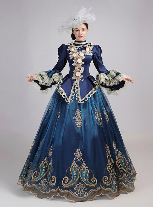 Dark Blue Satin Embroidery Appliques Drama Show Vintage Gown Dress