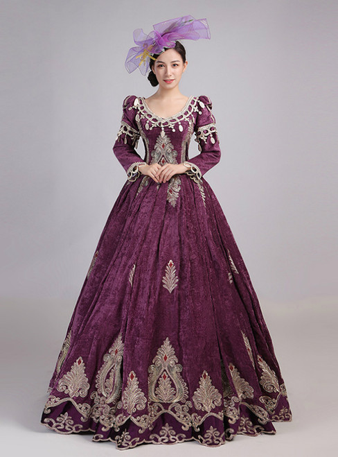 Purple Velvet Long Sleeve Lace Appliques Drama Show Vintage Gown Dress