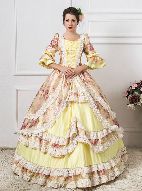 Champagne Ball Gown Print Short Sleeve Drama Show Vintage Gown Dress