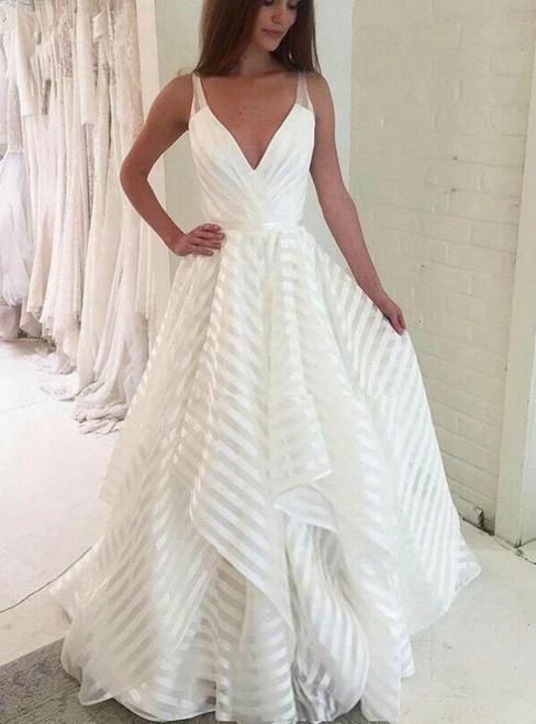 A line Deep V Neck Organza Spaghetti Straps Wedding Dress
