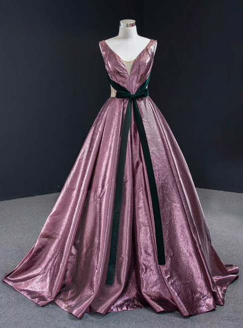 A-Line Purple V-neck Pleats Long Prom Dress With Green Velvet