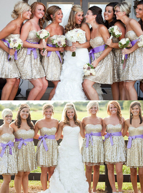 The Charming Beading Bridesmaid Dresses Sweetheart Short Bridesmaid Dresses