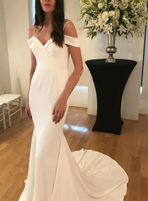 Simple Mermaid Satin Spaghetti Straps Wedding Dress