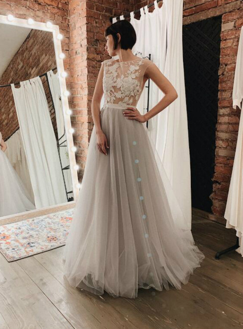 A-Line Gray Tulle Appliques Backless Floor Length Wedding Dress