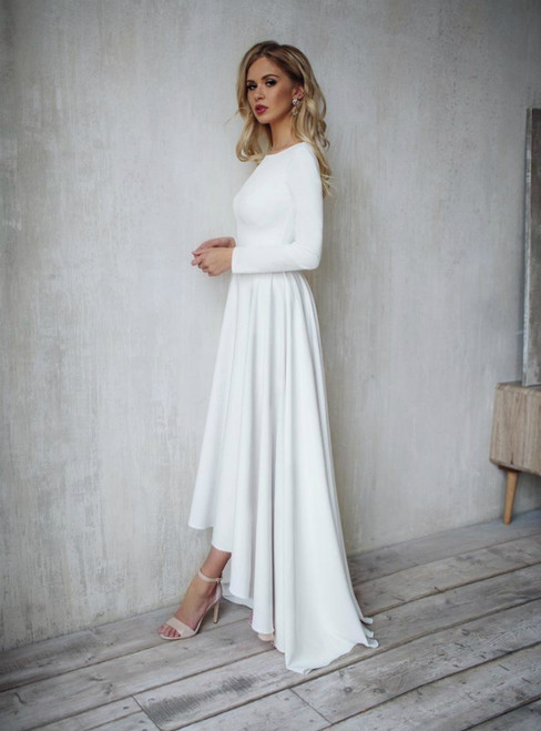 White Satin Hi Lo Long Sleeve Backless Wedding Dress