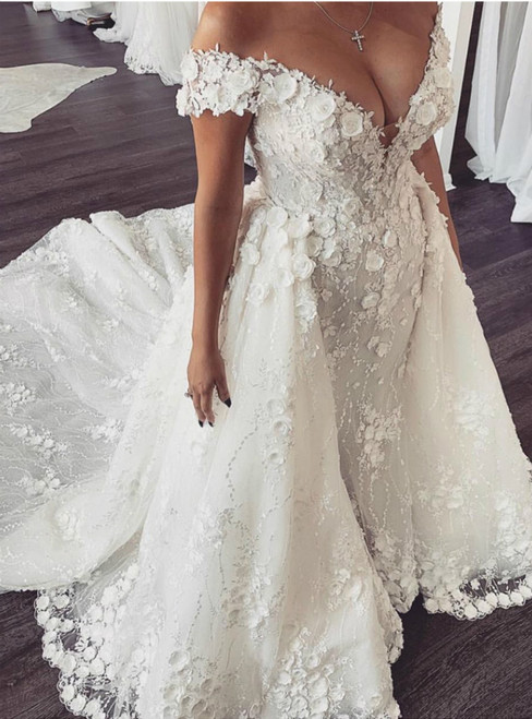 White Mermaid Tulle Appliques Off the Shoulder Wedding Dress With Detachable Skirt