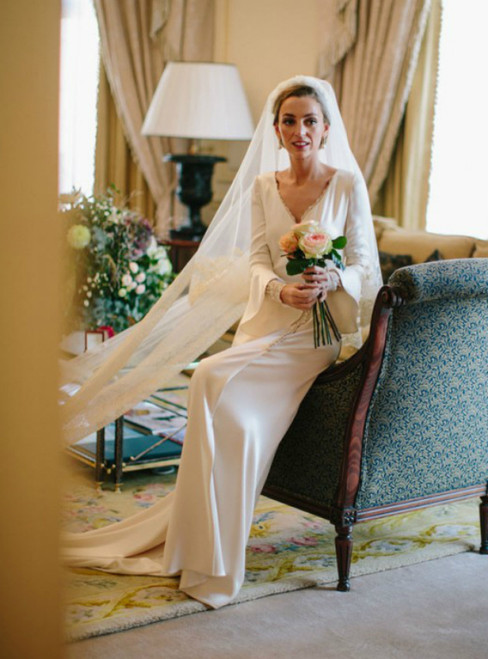A-Line White Satin Deep V-neck Long Sleeve Wedding Dress