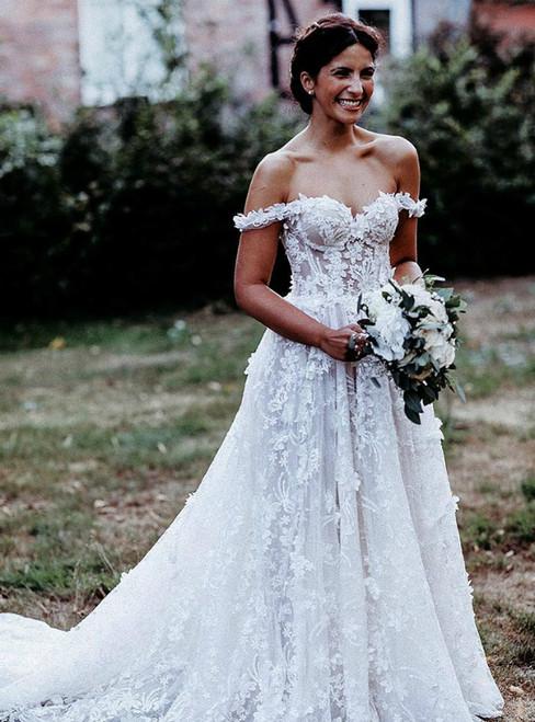 A-line Tulle Appliques Off the Shoulder Long Wedding Dress