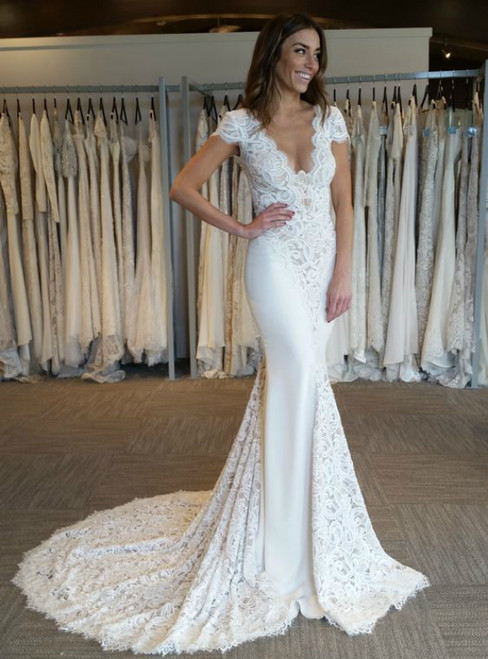 White Mermaid Satin Lace V-neck Backless Cap Sleeve Wedding Dress