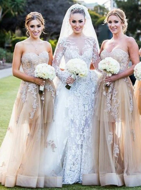 Champagne Sweetheart Bridesmaid Dress with Lace Appliques