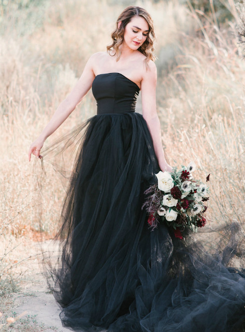 A-Line Black Ball Gown Tulle Strapless Wedding Dress With Train