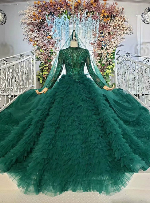 Dark Green Ball Gown Tulle Beading Long Sleeve Wedding Dress With Veil