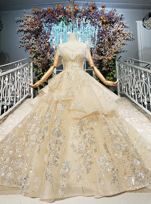 Champagne Ball Gown Sequins Beading Luxury Wedding Dress With Beading