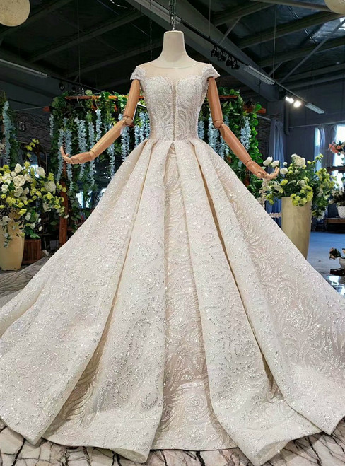 Marvelous Champagne Ball Gown Sequins Cap Sleeve Beading Wedding Dress With Train