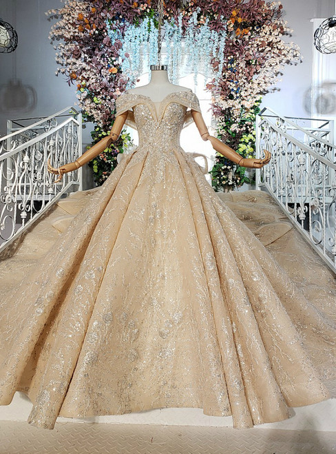 Adorable Chmpagne Ball Gown Sequins Off the Shoulder Wedding Dress