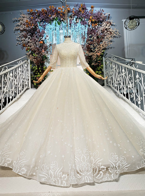 Wonderful Champagne Ball Gown Tulle Sequins Beading Short Sleeve Wedding Dress