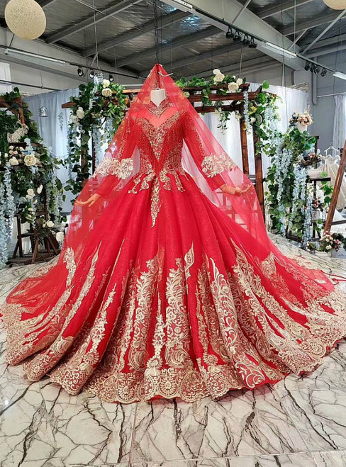 Red Ball Gown Tulle Lace Appliques High Neck Long Sleeve Wedding Dress