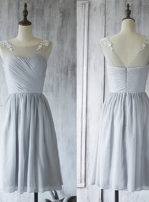 Illusion Short Bridesmaid Dress  Light Gray Bridesmaid Gown with Lace Appliques