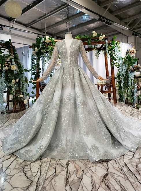 Silver Gray Ball Gown Sequins Deep V-neck Beading Wedding Dress