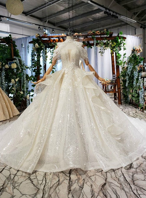 Brilliant Champagne Ball Gown Sequins Beading Off the Shoulder Wedidng Dress