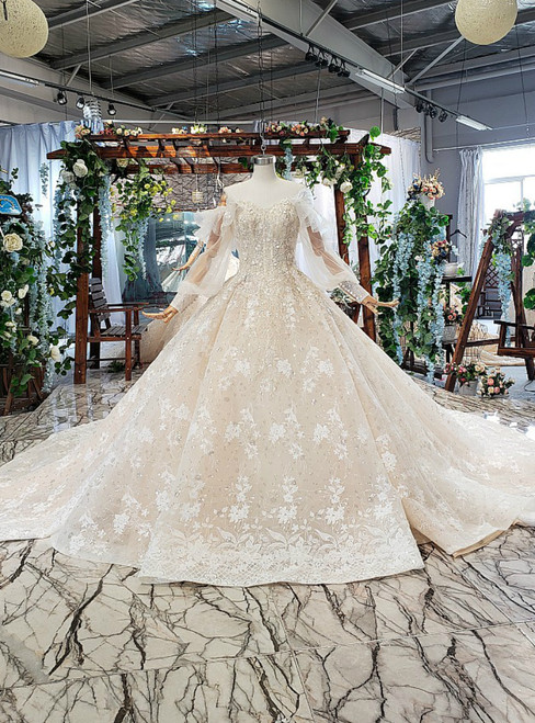 Chamapgne Ball Gown Sequins Off the Shoulder Long Sleeve Appliques Wedding Dress