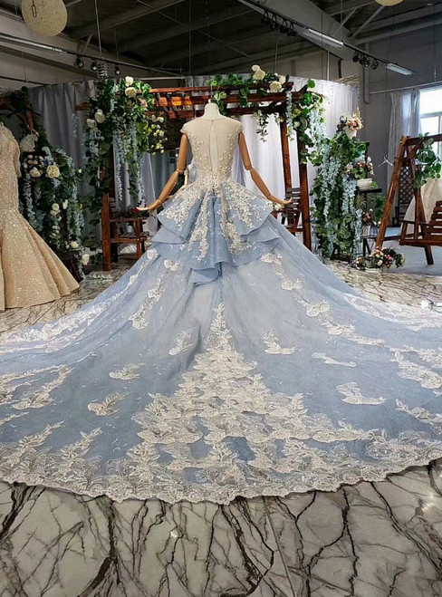 Blue Ball Gown Tulle Appliques Backless Cap Sleeve Wedding Dress