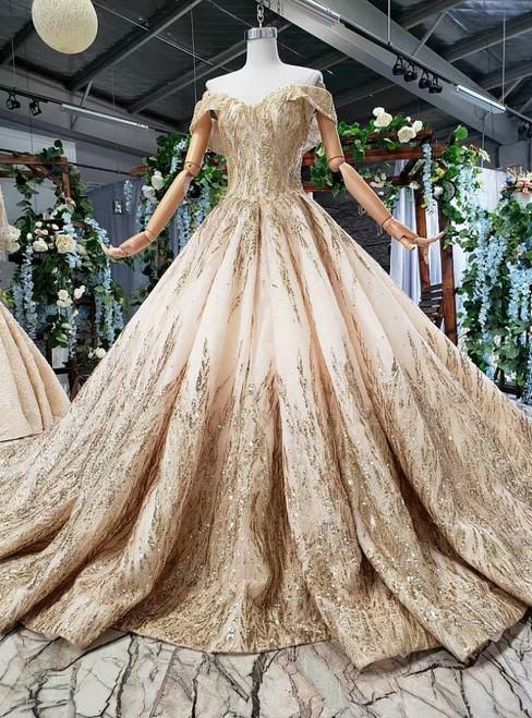 Elegant Champagne Ball Gown Tulle Sequins Off the Shoulder Wedding Dress