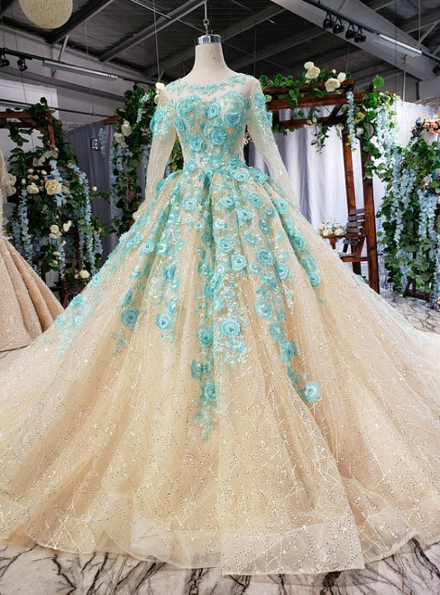 Dark Champagne Tulle Sequins Long Sleeve Green Appliques Wedding Dress