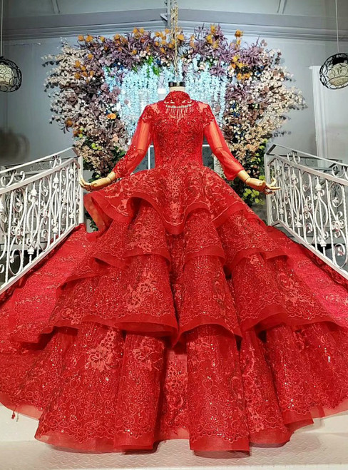 Red Ball Gown Tulle Lace High Neck Long Sleeve Wedding Dress With Beading
