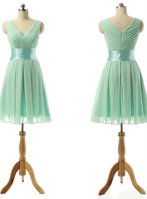 Vintage Bridesmaid Dress with a Ribbon  Light Green V-neck Bridesmaid Dresses with Soft Pleats