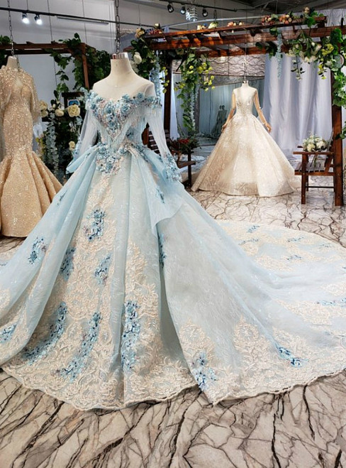 Blue Ball Gown Tulle Lace Appliques Long Sleeve Wedding Dress With Long Train