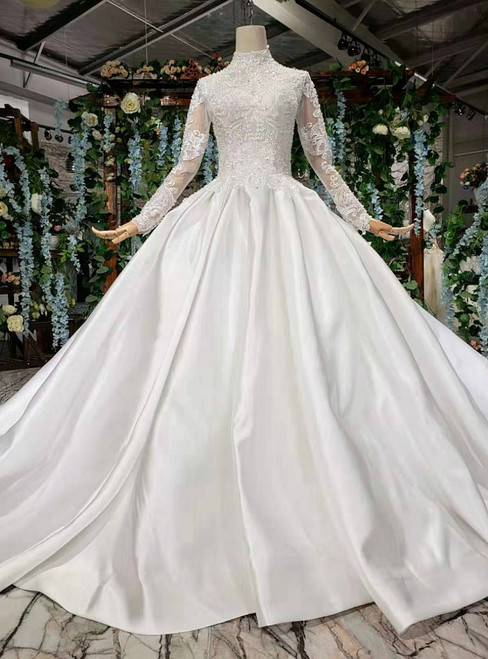 White Ball Gown Satin Long Sleeve Beading Sequins Wedding Dress