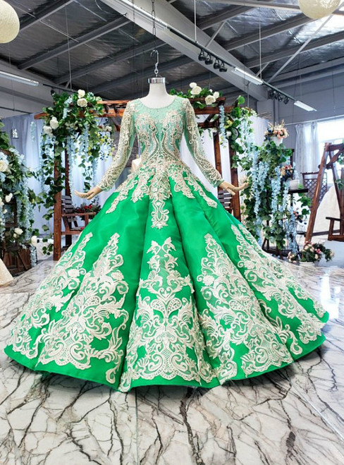Green Ball Gown Satin Appliques Long SLeeve BacklessBeading Wedding Dress