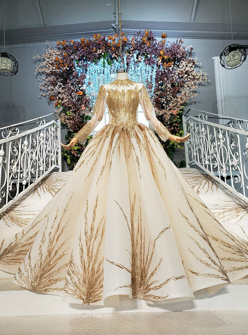 Champagne Ball Gown Tulle Seuqins High Neck Long Sleeve Wedding Dress