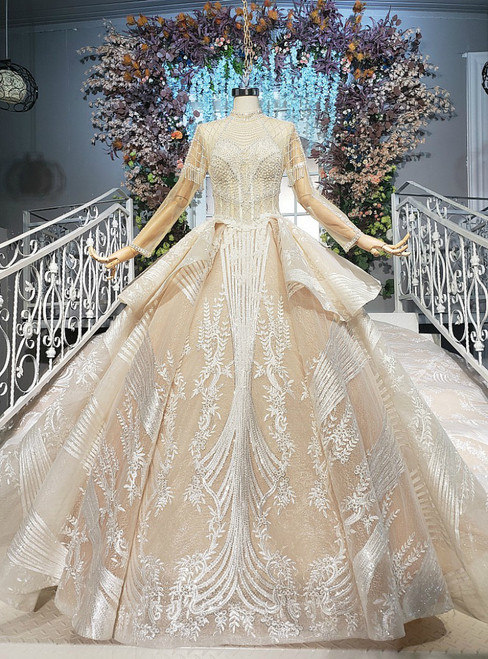 Champagne Gold Tulle Sequins High Neck Long Sleeve Backless Wedding Dress