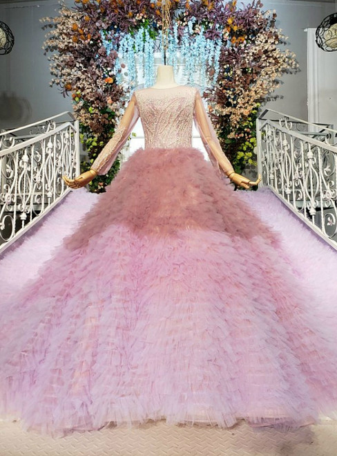 Glamorous Pink Ball Gown Tulle Long Sleeve Beading Wedding Dress With Train