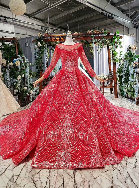 Red Ball Gown Tulle Sequins Long Sleeve Beading Wedding Dress With Long Train