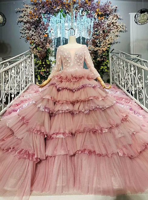 Advanced Pink Ball Gown Tulle Long Sleeve Tiers Wedding Dress With Long Train