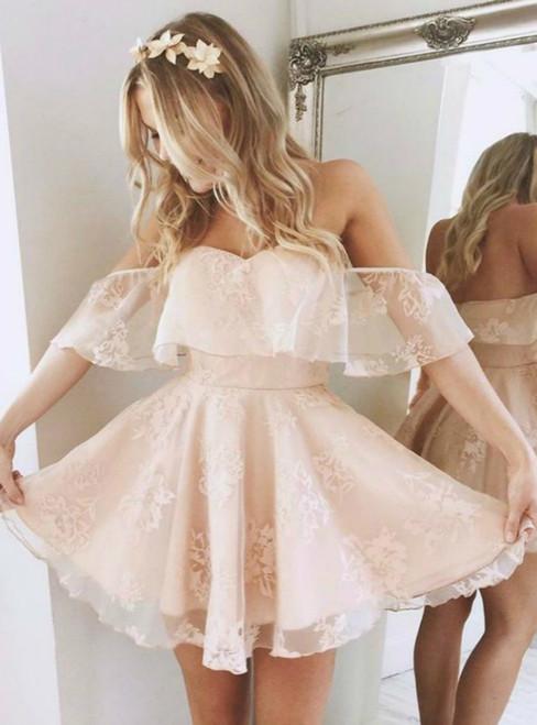 Sweetheart Neckline Off Shoulder Floral Short Evening Dress, Homecoming Dress