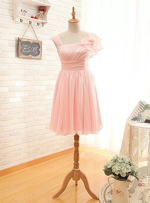 Asymmetrical Straps Pearl Pink Bridesmaid Dress Pearl Pink Party Dresses