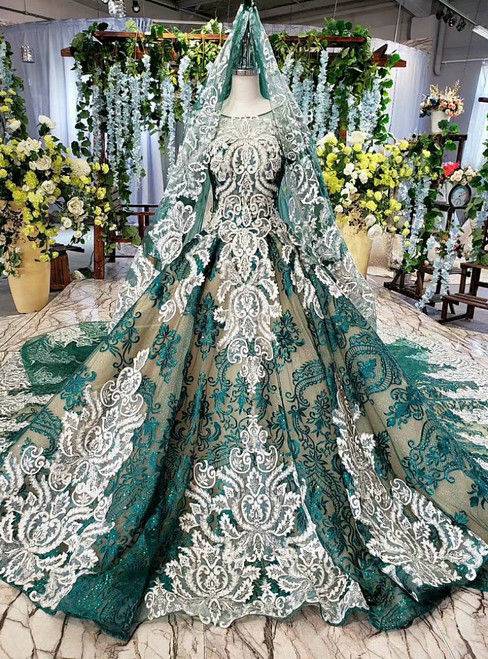 Elegance Green And White Lace Long Sleeve Beading Wedding Dress With Veil