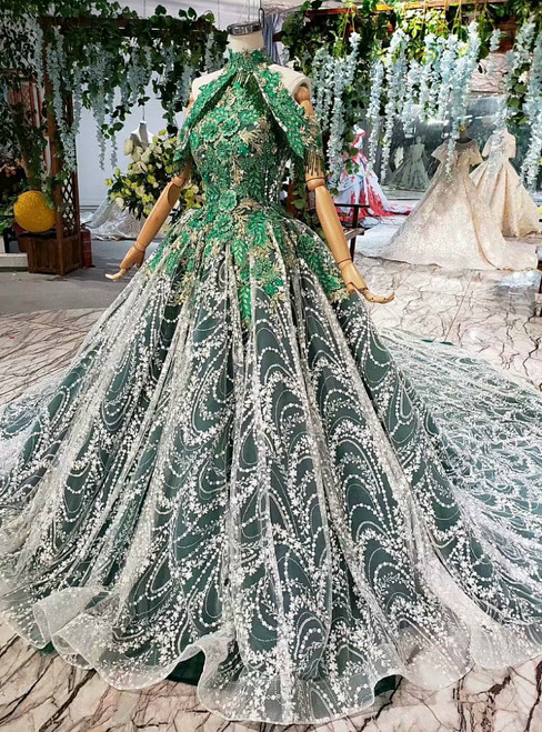 Princess Dark Green Ball Gown Tulle Lace Backless Appliques Beading Wedding Dress