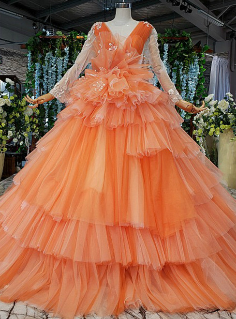Orange Tulle See Through V-neck Long Sleeve Appliques Wedding Dress