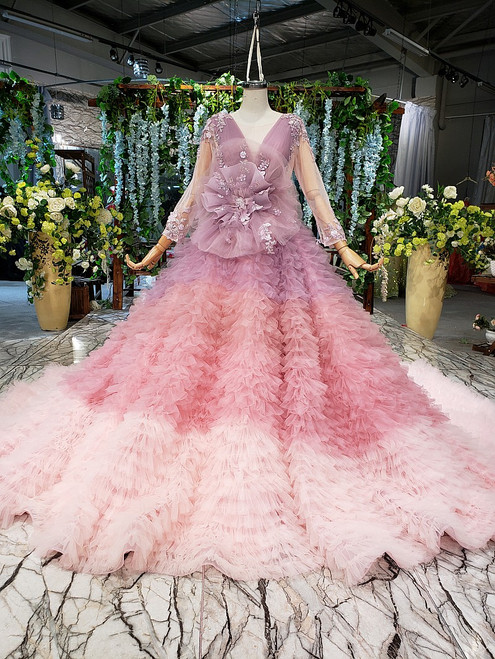 Dreamy Pink Ball Gown V-neck Long Sleeve Tulle Pleats Appliques Wedding Dress