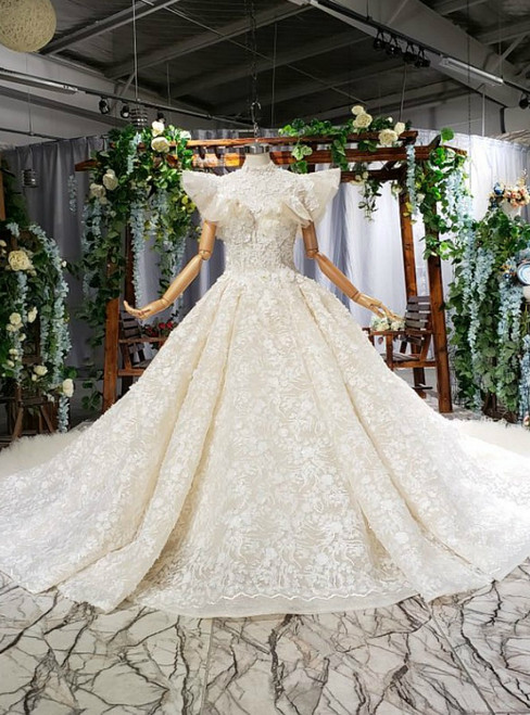 Fairy Tale Champagne Ball Gown Tulle Hand Made Flower High Neck Wedding Dress