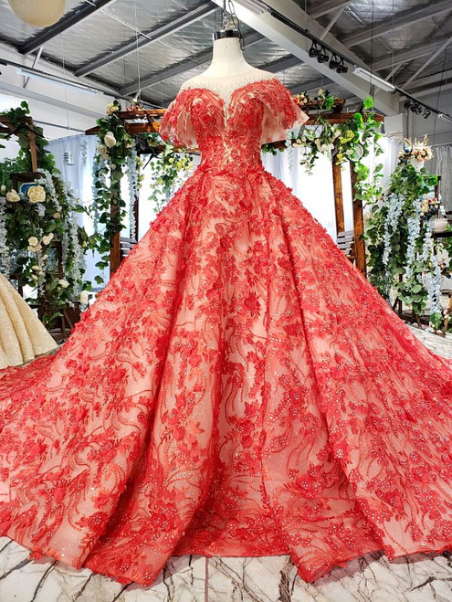 Red Ball Gown Tulle Appliques Cap Sleeve Backless Wedding Dress With Beading