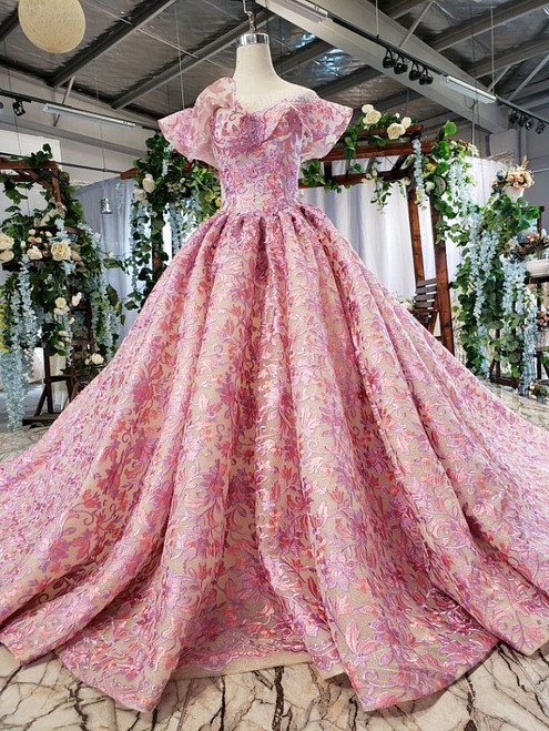 Pink Purple Ball Gown Embrodiery Lace Backless Wedding Dress With Train